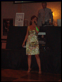Janine singing at her high school reunion in Reno, NV, 2008